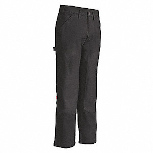 "Men's Carpenter Pants with Kneepads, 100% Cotton Duck Canvas, Color: Black, Fits Waist Size: 32"" x 3"