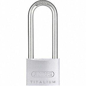 "Different-Keyed Padlock, Extended Shackle Type, 2-1/2"" Shackle Height, Silver"