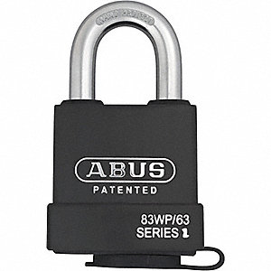 "Alike-Keyed Padlock, Open Shackle Type, 1-3/8"" Shackle Height, Black"