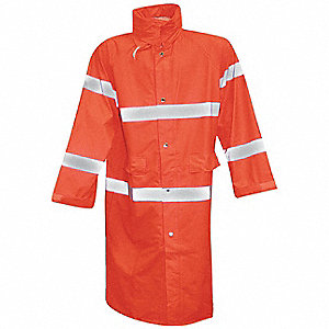 Unisex Hi-Visibility Orange Polyurethane on Stretch Knit Polyester Rain Coat with Hood, Size 2XL, Fi