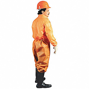 Collared Disposable Coveralls with Elastic Material, Orange, 3XL