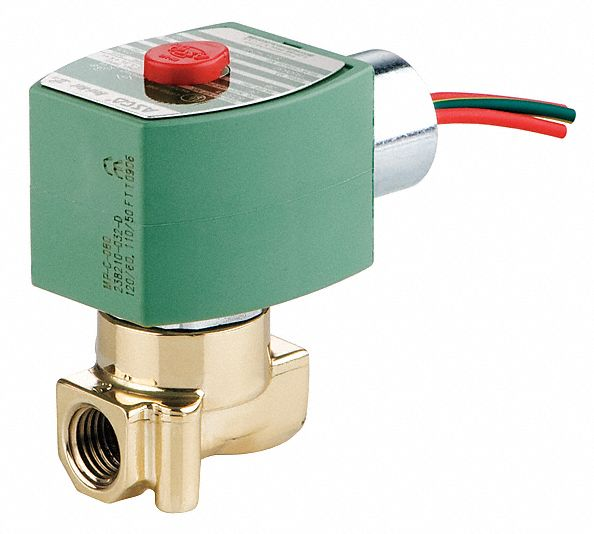 "120V AC Brass Solenoid Valve, Normally Closed, 1/4"" Pipe Size"