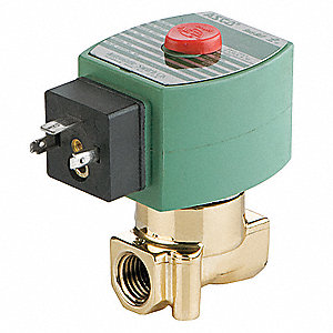 "120VAC Brass Solenoid Valve, Normally Closed, 1/4"" Pipe Size"