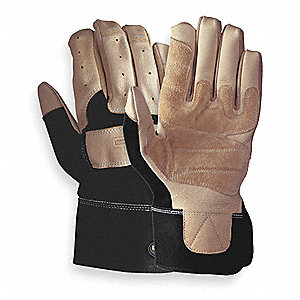 Leather Mechanics Gloves, Pigskin Leather Palm Material, Tan/Black, M, PR 1