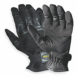 Leather Mechanics Gloves, Grain Cowhide Leather Palm Material, Black, XL, PR 1