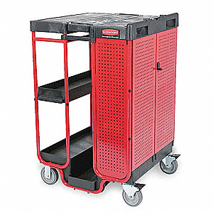 Ladder Cart with Cabinet, Number of Shelves 4 to 7, 500 lb. Load Capacity