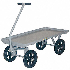 "Wagon Truck With 5th Wheel, 3500 lb. Load Capacity, Mold-on Rubber Wheel Type, 12"" Wheel Diameter"
