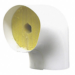 "1-1/8"" Pipe Fitting Insulation for 90° Elbow, Fiberglass, White"