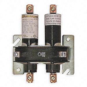 Mercury Displacement Contactor, 208/240VAC Coil Volts, 35A Contact Amp Rating (Resistive)
