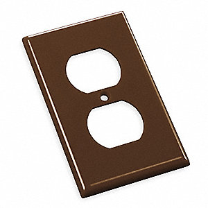 Duplex Receptacle Wall Plate, Brown, Number of Gangs: 1, Weather Resistant: No