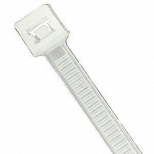 Standard Cable Tie, Nylon 6.6, Natural, Tensile Strength: 50 lb.