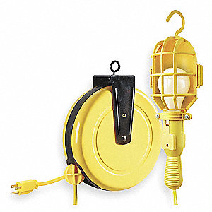Extension Cord Reel with Hand Lamp, Incandescent Lamp, Yellow, 35 ft. Cord Length