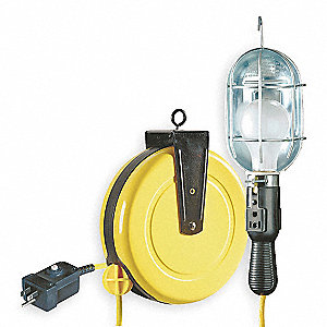Extension Cord Reel with Hand Lamp, Incandescent Lamp with Receptacle, Yellow, 50 ft. Cord Length