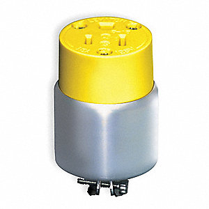 15 Amp Commercial Grade Standard Straight Blade Connector, 5-15R NEMA Configuration, Yellow