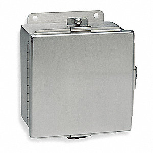 "16""H x 14""W x 6""D Metallic Enclosure, Stainless Steel, Knockouts: No, Screwdown Clamps Closure Metho"