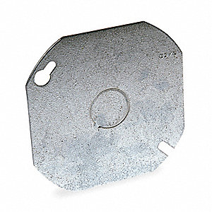 "Galvanized Steel Electrical Box Cover, Box Type: Octagon, Number of Gangs: 1, 4"" Width, 4"" Length"