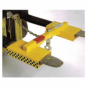 Forklift Lifting Hook, Double Fork, Single Swivel Hook, 3000 lb., Fork Pocket Size 2-1/4 x 7""
