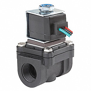 Polypropylene Latching Solenoid Valve, 2-Way/2-Position Valve Design, Normally Closed