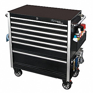 "Black Rolling Cabinet, Crossover, Width: 26"", Depth: 18-3/8"", Height: 40-3/4"""