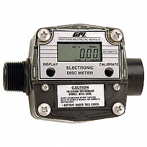 "Nutating Disc 1 1"" FNPT Inlet, 1MNPT Outlet Electronic Flowmeter, PTB Polyester, 2 to 20 gpm"