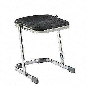 "Square Stool with 18"" Seat Height Range and 300 lb. Weight Capacity, Black"