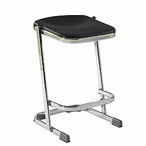 "Square Stool with 24"" Seat Height Range and 300 lb. Weight Capacity, Black"