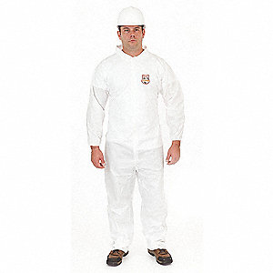 Disposable Coveralls with Elastic Cuff, White, L, Microguard MP®