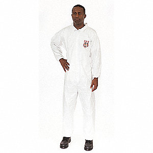 Collared Disposable Coveralls with Elastic Cuff, White, 2XL, Microguard MP®