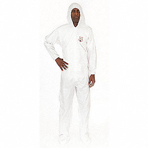 Hooded Disposable Coveralls with Elastic Cuff, MicroGuard MP® Material, White, 4XL