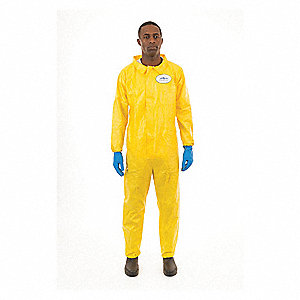Collared Chemical Resistant Coveralls with Elastic Cuff, Yellow, 2XL, Chemsplash 1®