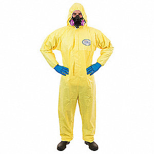 Hooded Chemical Resistant Coveralls with Elastic Cuff, Yellow, 2XL, Chemsplash 1®