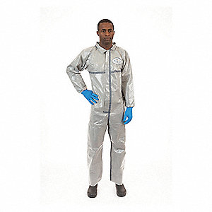 Collared Coverall,Open,Gray,4XL,PK6