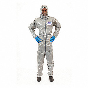 Hooded Chemical Resistant Coveralls with Elastic Cuff, Gray, 4XL, Chemsplash 2®