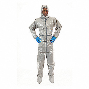 Hooded Chemical Resistant Coveralls with Elastic Cuff, Chemsplash 2® Material, Gray, 2XL