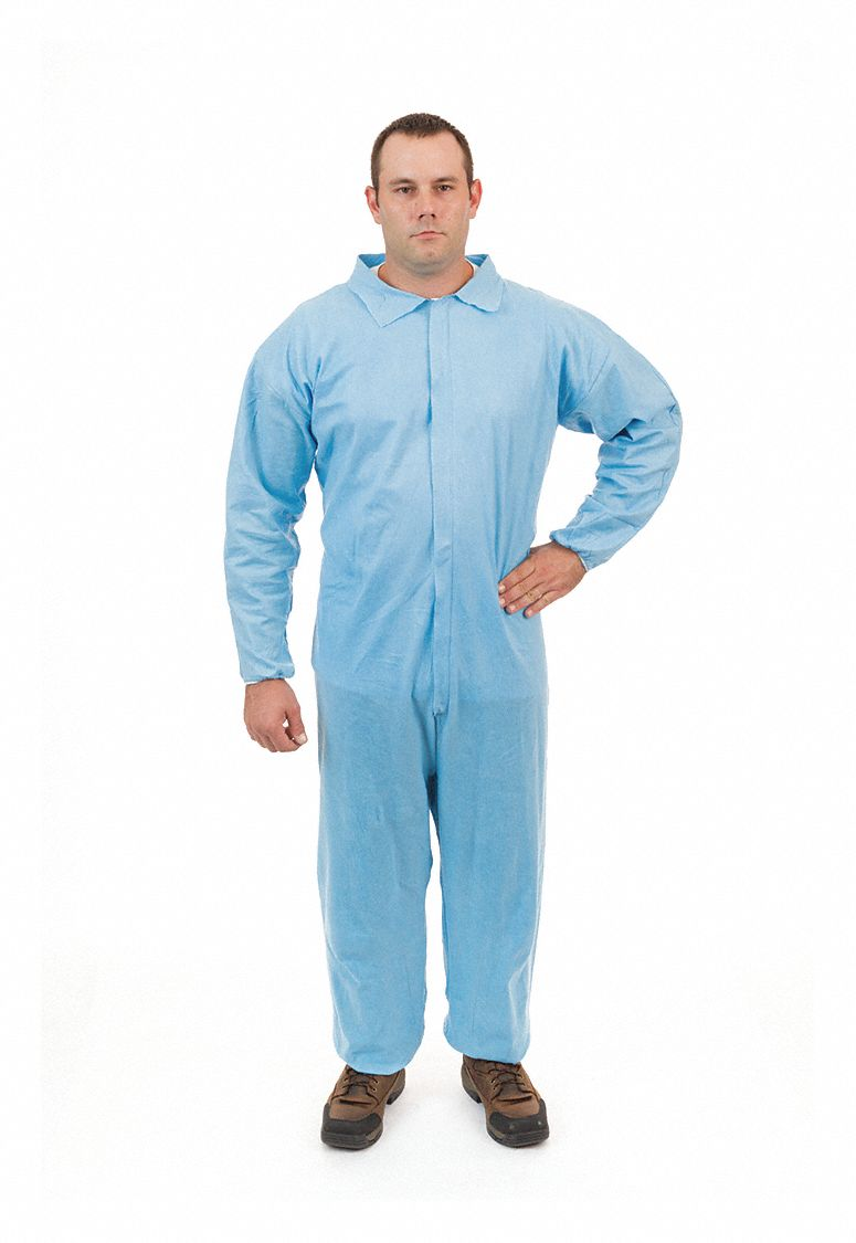 FR Treated Non-Woven, Flame-Resistant Coverall, Size: L, Color Family: Blues, Closure Type: Zipper