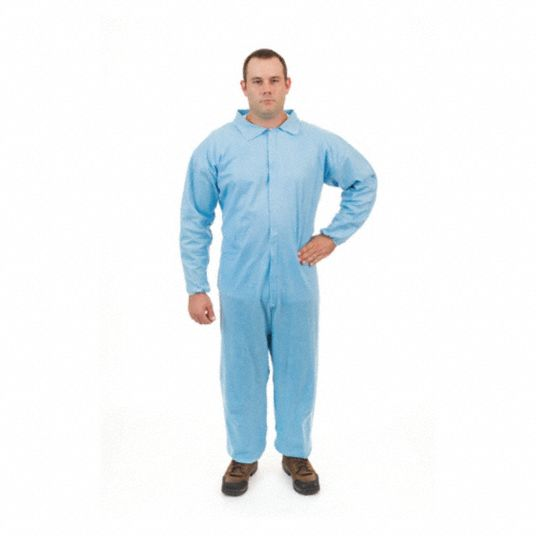 FR Treated Non-Woven, Flame-Resistant Coverall, Size: XL, Color Family: Blues, Closure Type: Zipper