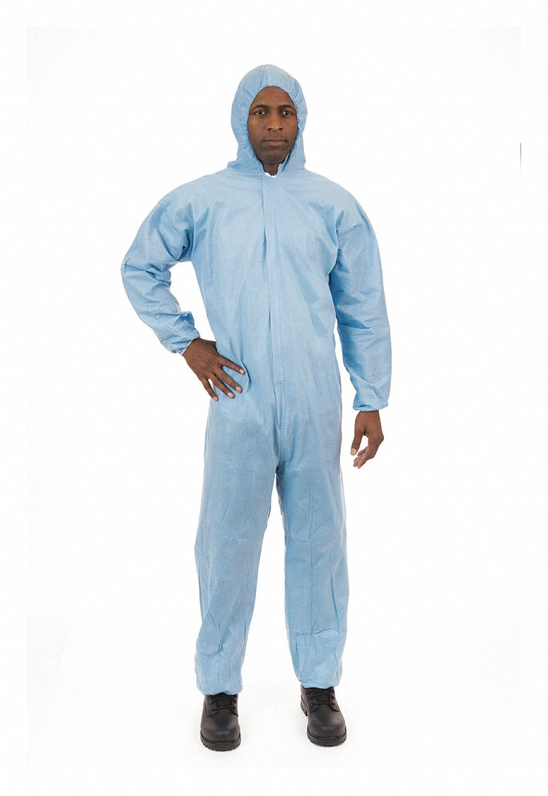 FR Treated Non-Woven, Flame-Resistant Coverall w/Hood, Size: 2XL, Color Family: Blues