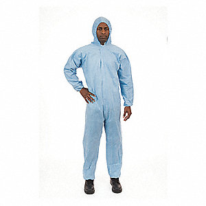 FR Treated Non-Woven, Flame-Resistant Coverall w/Hood, Size: M, Color Family: Blues