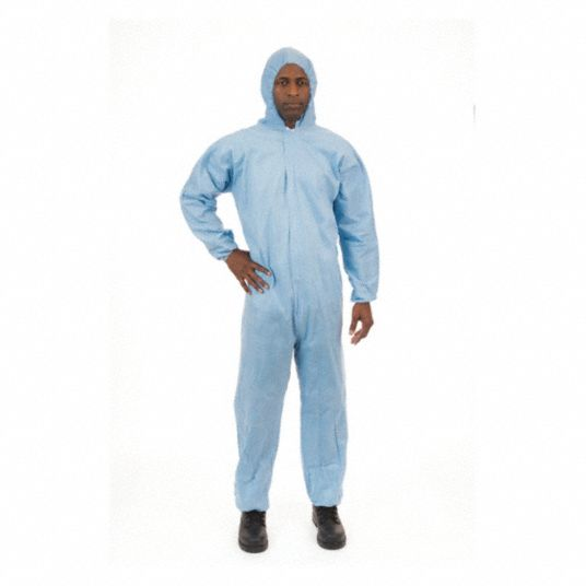 FR Treated Non-Woven, Flame-Resistant Coverall w/Hood, Size: XL, Color Family: Blues