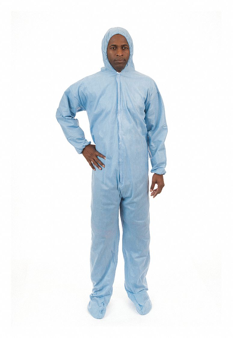 FR Treated Non-Woven, FR Coverall w/Hood and Boots, Size: 2XL, Color Family: Blues