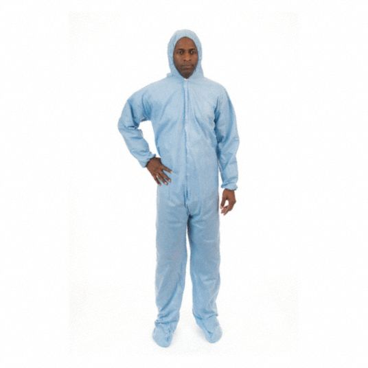 FR Treated Non-Woven, FR Coverall w/Hood and Boots, Size: 3XL, Color Family: Blues