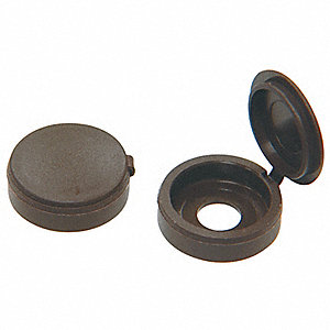 Screw Cover,Hinged Brown,#8/#10,PK15