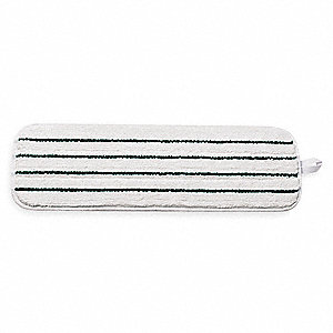 "Microfiber Quick Change 5-1/2"" x 18"" Wet Mop Head, White / Green Stripes"