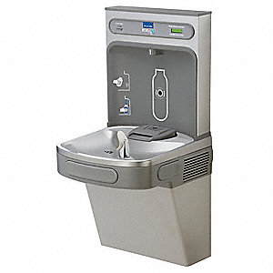 Light Gray Granite/Stainless Steel Electronic Sensor (Bottle Filler)&#x3b; Pushbutton (Cooler) Water Cool