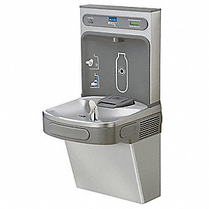 Stainless Steel Electronic Sensor (Bottle Filler)&#x3b; Pushbutton (Cooler) Water Cooler with Bottle Fill