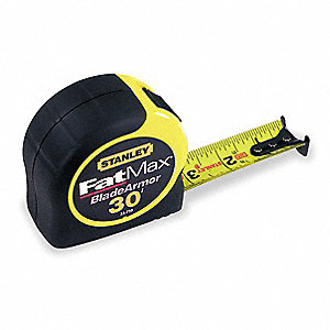 Tape Measure,1-1/4 Inx30 ft,Yellow/Black