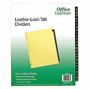 "Binder Divider with 25 Preprinted Tabs, Brown A to Z Tabs, 8-1/2"" x 11"""