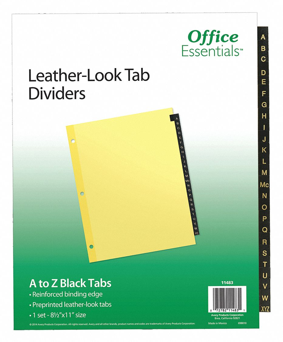 Binder Divider with 25 Preprinted Tabs, Black A to Z Tabs, 8 1/2 in x 11 in