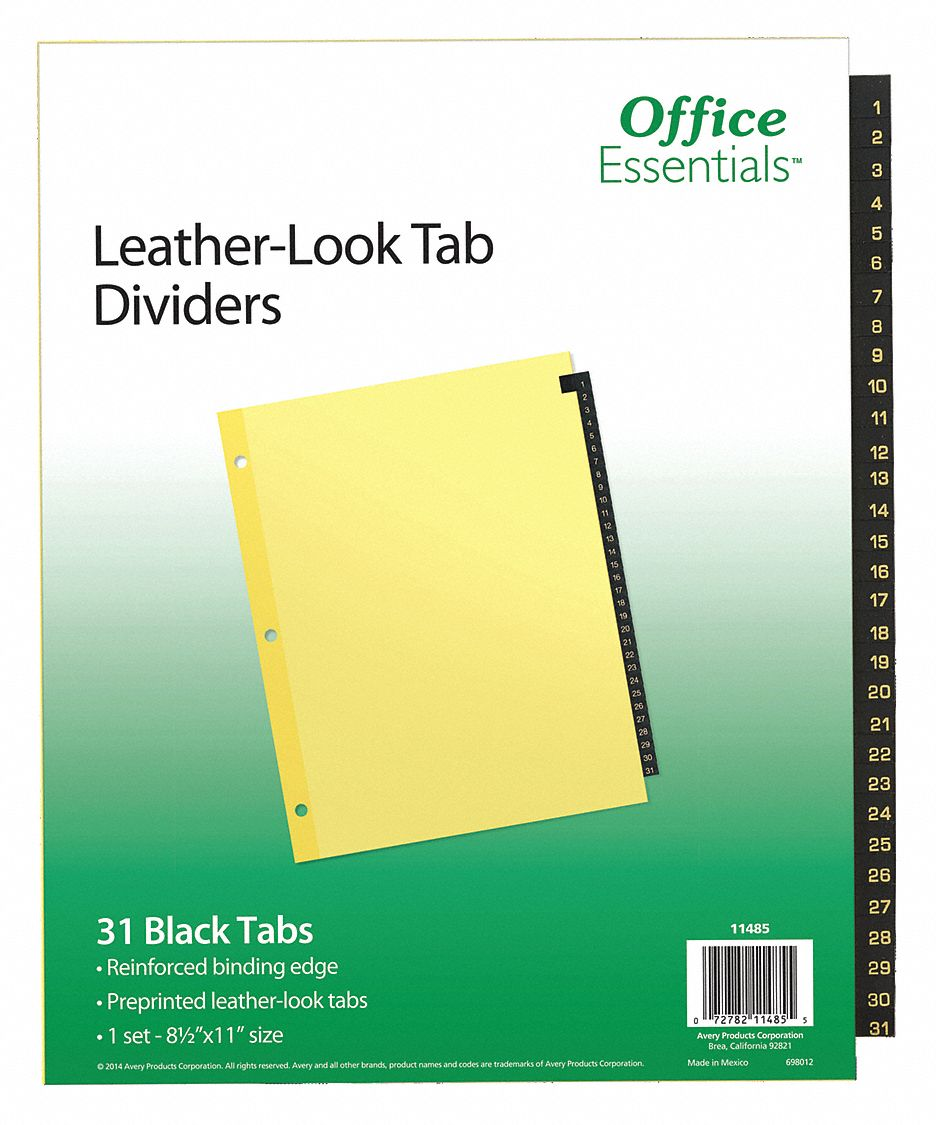 Binder Divider with 31 Preprinted Tabs, Black 1 to 31 Tabs, 8 1/2 in x 11 in