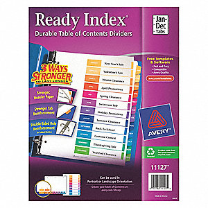 avery binder divider with 12 preprinted tabs multicolor jan to dec